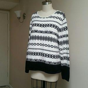 Charter Club Black & White Cotton Sweater